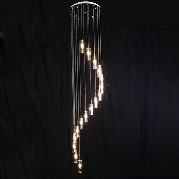 Tangga ganda Besar Kristal Liontin Lampu G4 LED Chandelier Panjang Gelembung Kolom Kristal Villa Mewah Ruang Tamu Lampu Spiral