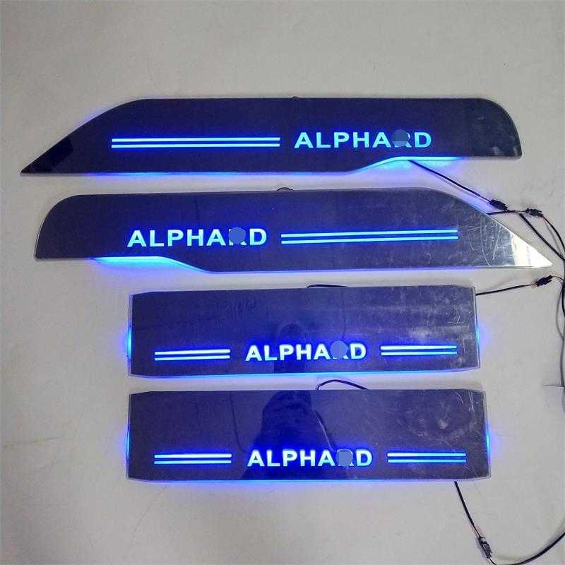 LED KAPı EŞIĞI PLAKA ıŞıKLARı hareketli kapı itişme Nerf Barlar Koşu Panoları giriş muhafızları fit kapakları TOYOTA ALPHARD için ARABA KAPı PLAKASı
