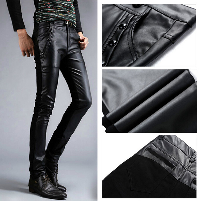 De alta Calidad Primavera Otoño de Los Hombres Apretados pantalones de cuero de moda de Corea discoteca Remaches Locomotora pantalones de LA PU Pantalones de cuero