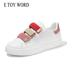 E TOY WORD Women Sneakers Casual Autumn Flat White Shoes Woman Fashion Breathable Hook Loop Ladies Tenis feminino