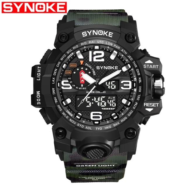 0817fc2f7f0a Synoke de cuarzo reloj deportivo al aire libre los hombres escalada relojes  electrónicos impermeable multifunción G Relogio Masculino Shock