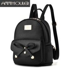 Annmouler дизайнерские женские рюкзаки искусственная кожа рюкзак маленький черный сумка для девочек элегантное милый школьная сумка для подростков