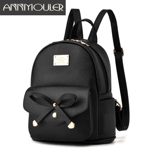 Annmouler Designer Women Backpacks Pu Leather Backpack Small Black ...