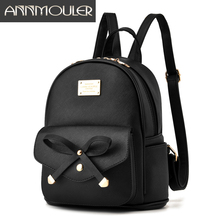 Annmouler Designer Women Backpacks Pu Leather Backpack Small Black Shoulder Bag for Girls Preppy Cute School Bag for Teenagers