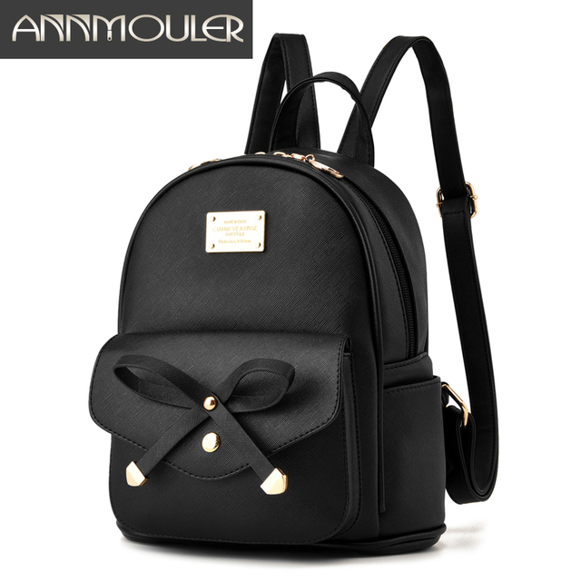 a1c64011c Annmouler مصمم حقائب النساء بو الجلود حقيبة الكتف حقيبة صغيرة سوداء للفتيات  preppy لطيف حقيبة مدرسية
