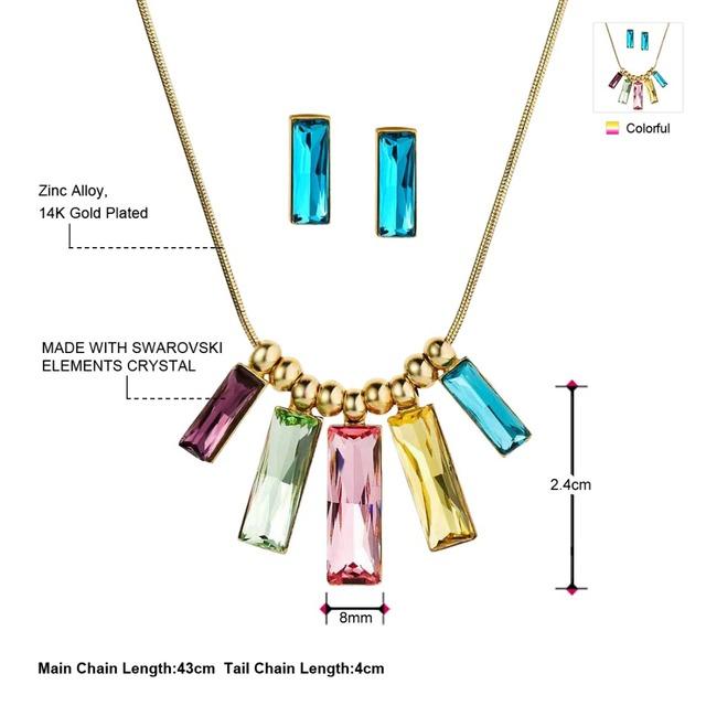 Kryštálové šperky SWAROVSKI SET náušnice & náhrdelník Crystal Colorful Jewelry Set