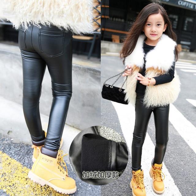 bd91e55126644 Autumn Winter Girls Leggings Faux Leather Kids Pants Thick Plus Velvet Warm  2018 Fashion Children Pu Trousers 3 4 5 6 7 8 Years