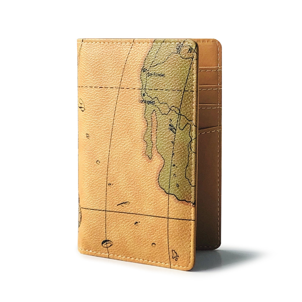 Brand New Women Men PU Leather World Map Card Holder Travel Wallet US Passport Cover Coin Purse Money Organizer Bag Funny Gift