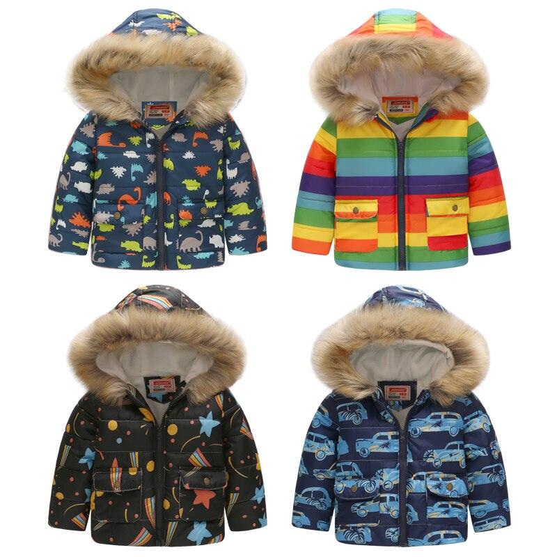 Cute Car Winter Kids Jacket Boys Outerwear Coats Active Boy Windbreaker Cartoon Sport Suit For Children Clothes Baby Boy Parkas