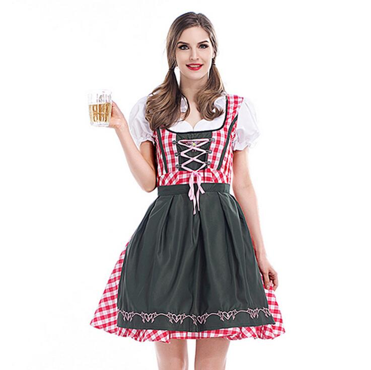 S-3XL Hot Sale Traditional Women Dirndl Oktoberfest Costume German Wench Maid Dirndl Fancy Dress Halloween Party Outdit