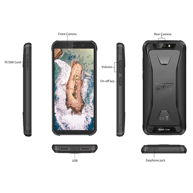 Blackview BV5500 IP68 Waterproof MTK6580P Smartphone 2GB+16GB 5.5″ 18:9 Screen 4400mAh Android 8.1 Dual SIM Rugged Mobile Phone