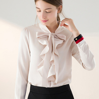 Mara Alee Women Tops Bow Shirts Blouses Ladies Office Shirts Ruffle Blouses Tie Front Formal Shirts