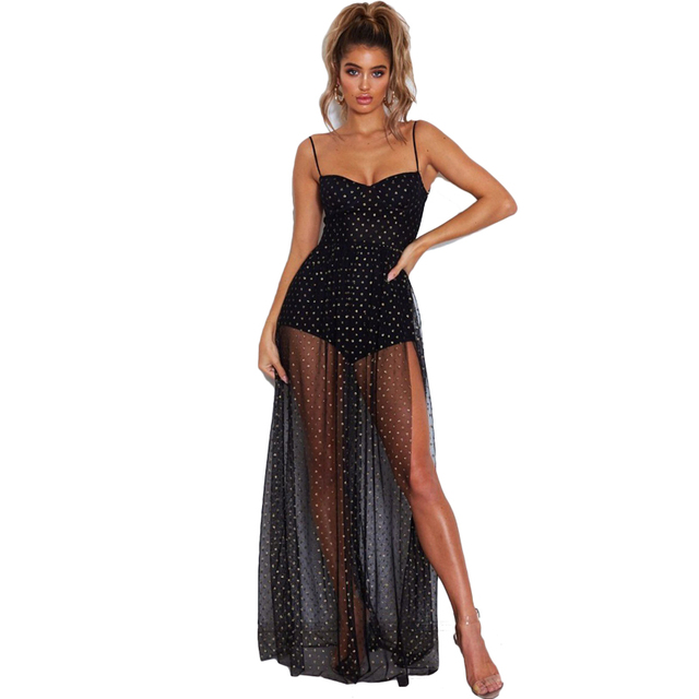 4494218a1b80b Sexy Transparent Mesh Spaghetti Strap Long Maxi Dress Women 2019 Sundress  Black Summer Beach Dress Vestidos