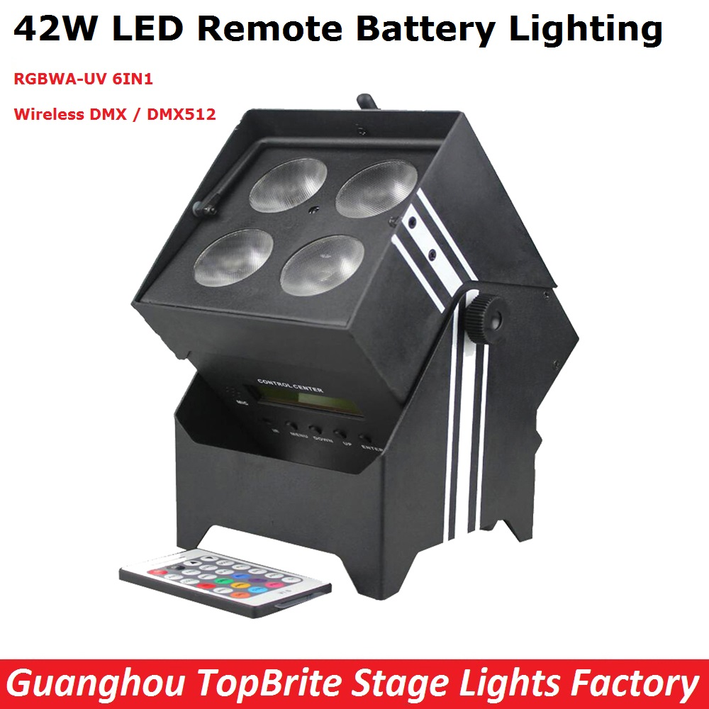 Wireless Battery Powered Portable Uplights 42W 6IN1 Led Par Light RGBWA+UV Slim Par Can With IRC For Party Wedding Decorations 10pcs lot 9x18w rgbwa uv 6in1 flat led par light aluminum white housing battery dmx512 wireless pcb receiver 2 4g flight case