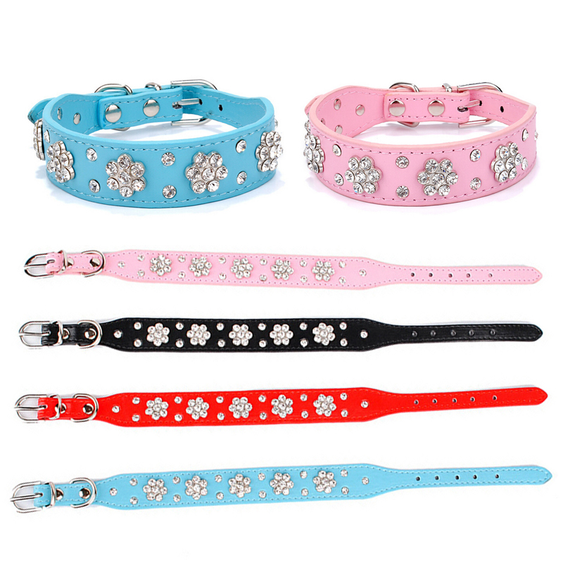 Cute Bling Rhinestone Flowers Dog Collar Diamante Small Pet Cat Puppy PU Leather Collar Necklace Buckle Size S M Drop Shipping