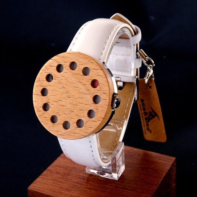 BOBO BIRD Wood Wristwatch 12 Holes Design Wood Bezel Stainless Steel Case Quartz Watches for Men Women Reloj Mujer 2016