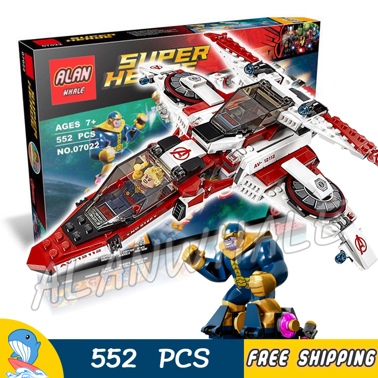 552pcs Super heroes Avengers Avenjet Space Mission Captain America 07022 Model Building Blocks Toys Bricks Compatible with Lego lecgos 8pcs lot captain america iron man building blocks sets children model bricks toys lecgos compatible