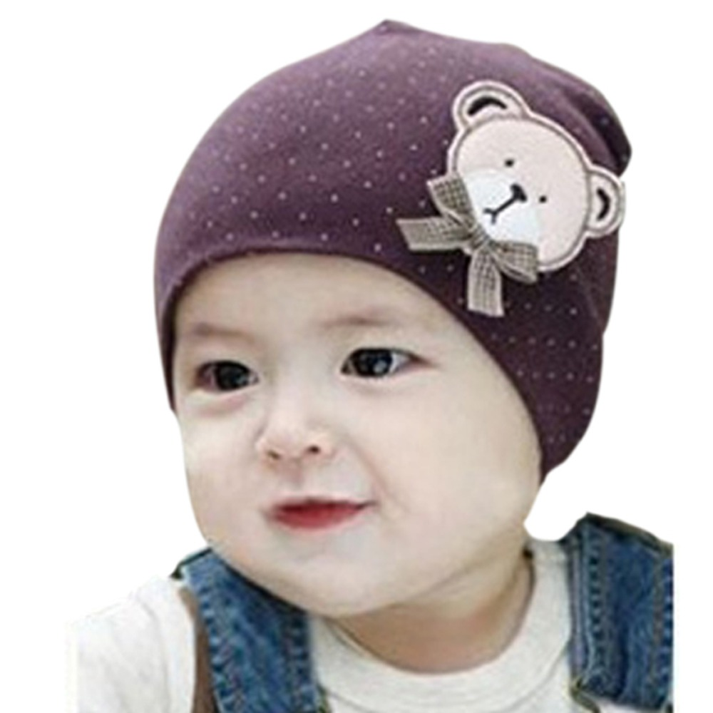 Boy Girl Toddlers Baby Beanie Hat Bear Labeling With Small Dot Hat