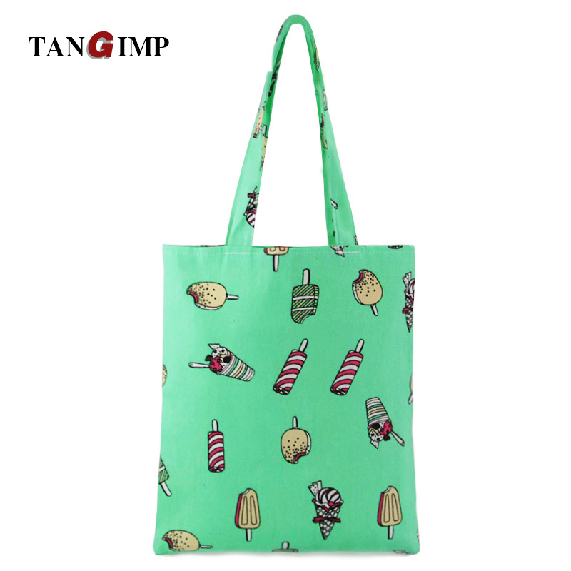 3591929e2993 US $8.65 |TANGIMP Ice Cream Canvas Handbags Women Shopper Shopping Female  Eco Reusable Tote Bags Cotton bolsa compra for Women Girls-in Top-Handle ...