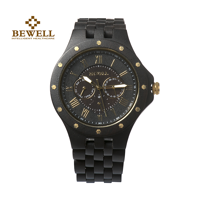 BEWELL W116C Black Wood Watch Men Top Luxury Brand Quartz Wristwatch with Auto Date Week Display Round Face Luminous Hands bewell fashion luxury brand wooden watch for man round dial date display wristwatch and luminous pointers wood watch zs 109a