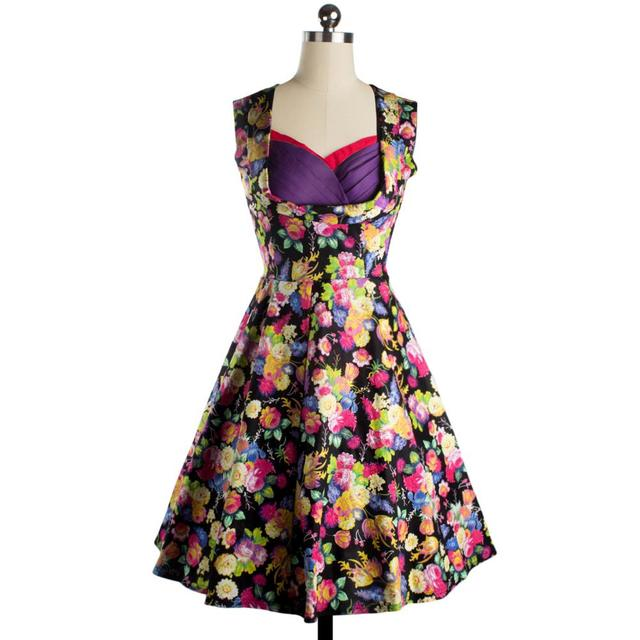 881167920987 US $23.99 |Plus Size Women's Retro Clothing Hot Wrap Chest Print Dress  Ladies Sleeveless Party A line Dresses Big Swing S XXL B632-in Dresses from  ...