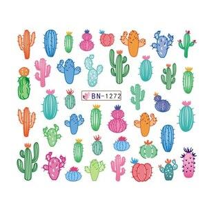Image 3 - Pegatinas de agua para uñas de Cactus, 12 diseños, hoja de planta verde, copos de marca de agua, deslizador, tatuaje, decoración de uñas, LABN1261 1272 1