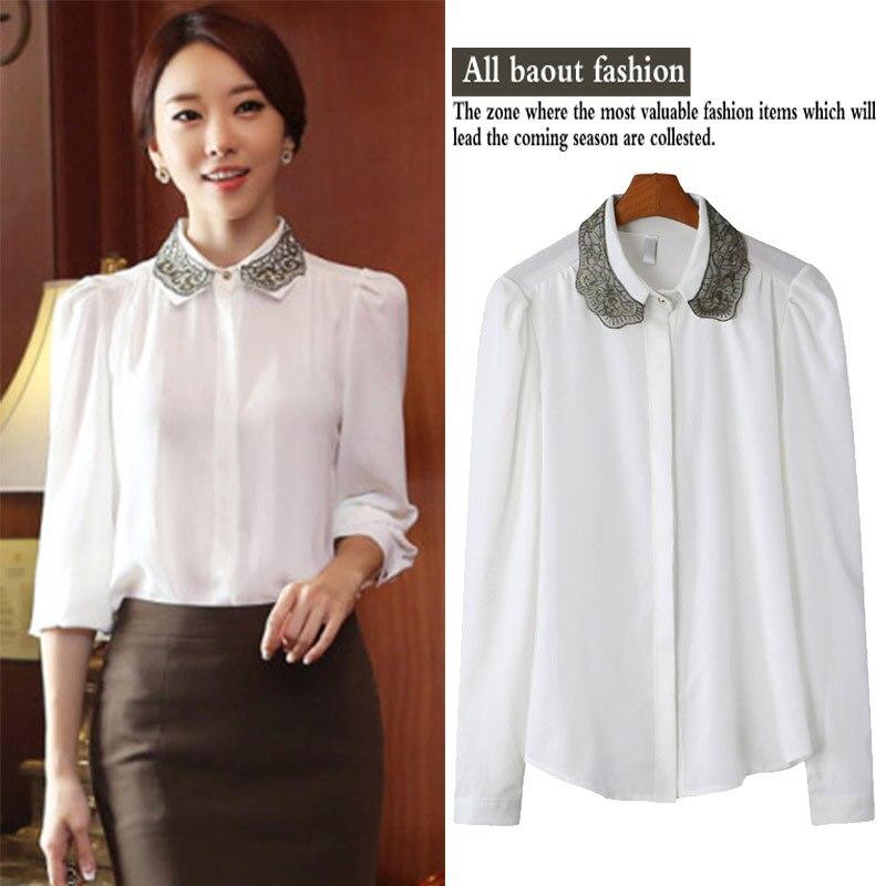 Korean 2015 women's blouses brand design doll collar Slim thin ...