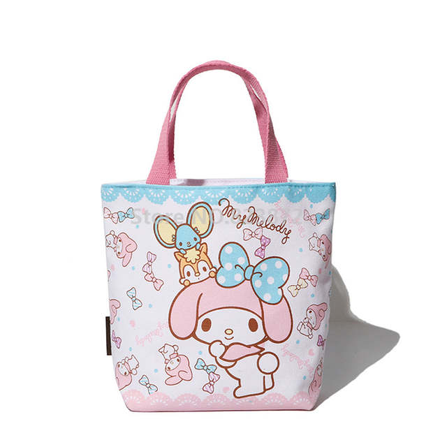 bff516d6c1 Cute My Melody Hello Kitty Canvas Lunch Bag for Girls Kids Little Twin  Stars Mini Small