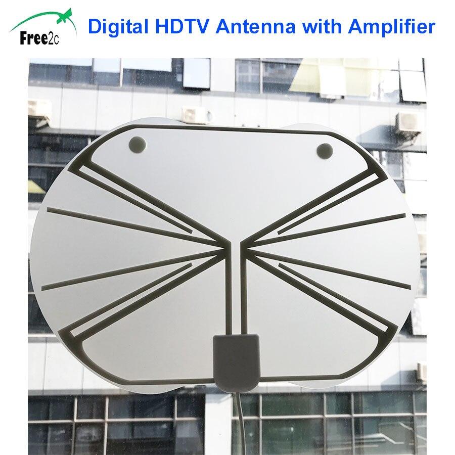 Miles Range Flat Digital Indoor HDTV Amplified HD TV Antenna with Amplifier 50