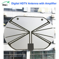 SATXTREM Flat HD TV Amplified Digital Indoor Antenna High Gain HDTV 50 Miles Range DVB ISDB with Detachable Signal Amplifier