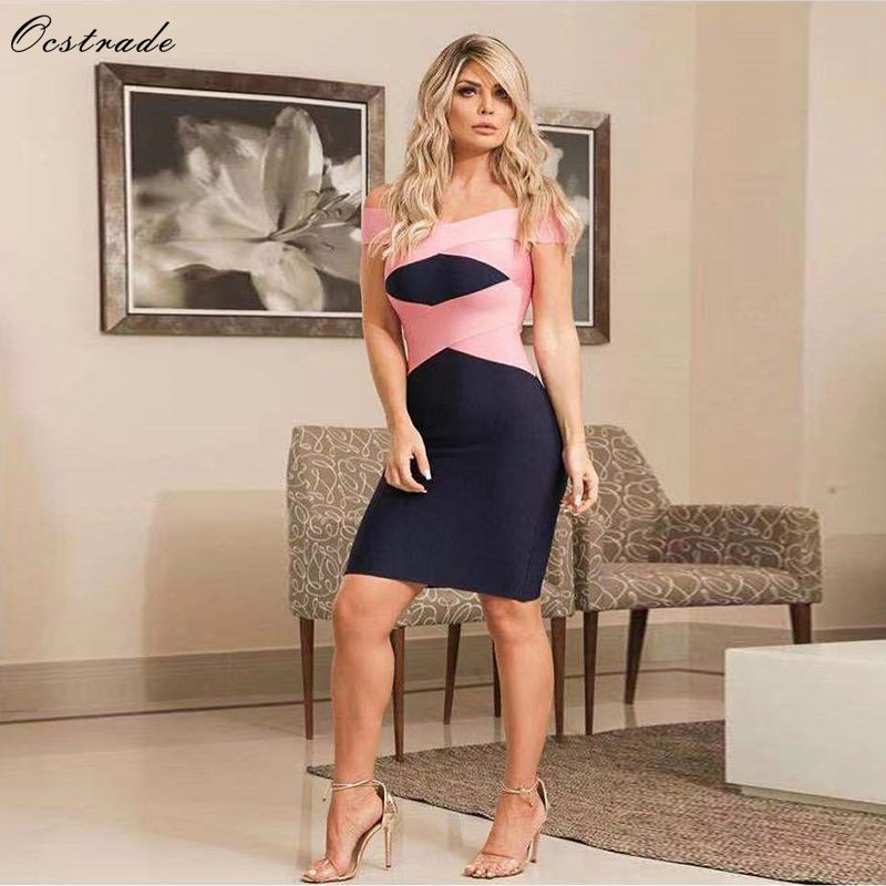 Ocstrade Summer Sexy Off Shoulder Bandage Dress New Collection 2019 High Quality Black Women Bandage Bodycon