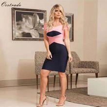 Ocstrade verano Sexy fuera del hombro vendaje vestido nueva colección 2019 alta calidad negro mujeres vendaje Bodycon vestido de fiesta de noche