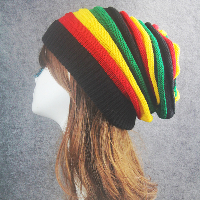 rainbow winter hats for women men Beanies hat colorful Striped Cotton Chunky Knit Beanies for men ladies Warm Winter hat gift