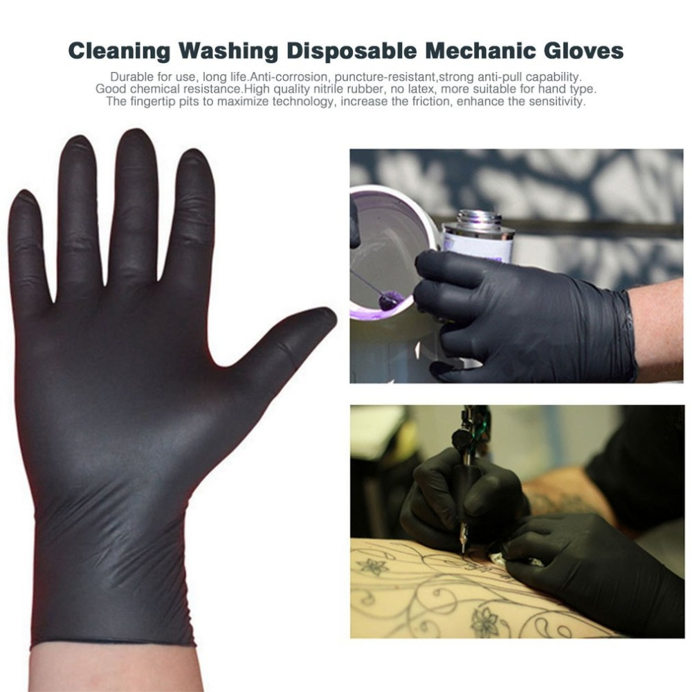 100 Pcs Household Cleaning Washing Gloves Disposable Gloves Black Nitrile Laboratory Durable Anti-corrosion Anti-static Gloves To Have A Long Historical Standing