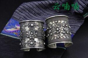Античное серебряное кольцо Miao, Очень изящное ювелирное изделие Лимитированная серия, тяжелый резной браслет на руку, Этнические тибетские ...