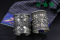 Super fine limited edition heavy carved antique Miao silver bracelet arm ring | Yunnan ethnic Tibetan jewelry