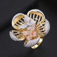 Trendy Blooming Flower Cubic Zirconia Finger Rings for Indian African women Engagement Ring Wedding Ring anillos mujer
