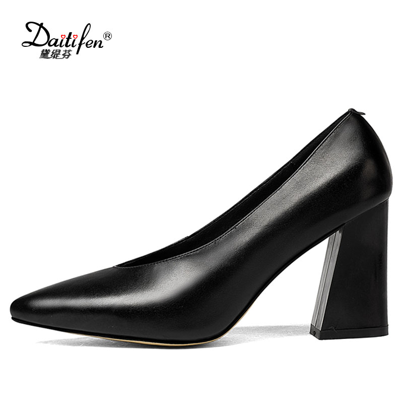 Daitifen 2018 Women Pumps Genuine Leather Fashion Elegant Pointed Toe Slip on Square Heels Hot Woman Office Lady Shoes Black 2017 hot sale fashion style classic women pumps leisure round toe slip on med heels mature office lady easy walking hot shoes