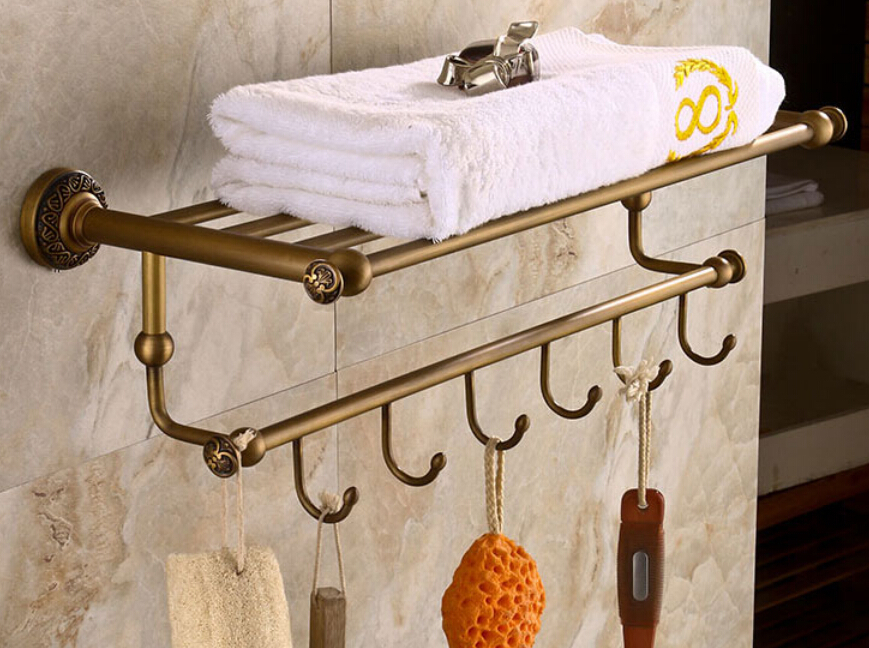 Antique Brass Art Carved Bath Towel Holder Wall Mounted Towel Rack With  Hooks In Towel Racks From Home Improvement On Aliexpress.com | Alibaba Group