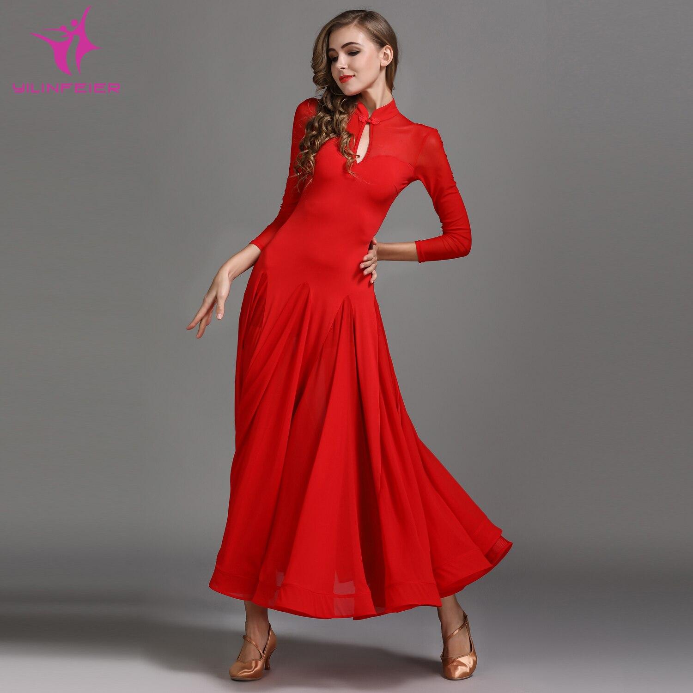 YILINFEIER MY789 traje de baile moderno mujer señora Waltzing Vestido de baile de tango traje de salón chino Frock vestido de fiesta de noche