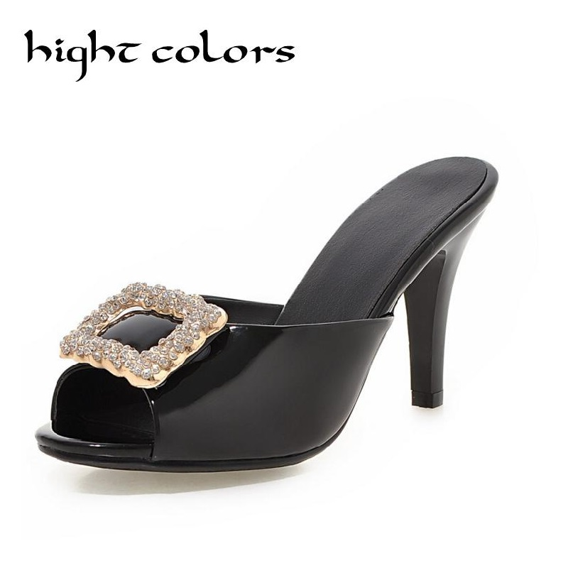 New Fashion Sexy High Heels Slipper Gold Sliver Women Sandals Beautiful Ladies Summer Shoes Flip Flops Gladiator Heels women sandals 2017 summer shoes woman flips flops gladiator wedges bohemia fashion rivet platform female ladies casual shoes