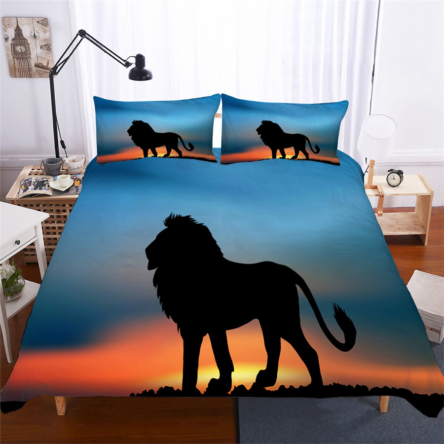 Bedding Set 3D Printed Duvet Cover Bed Set Lion Home Textiles for Adults Lifelike Bedclothes with Pillowcase #SZ03-in Bedding Sets from Home & Garden