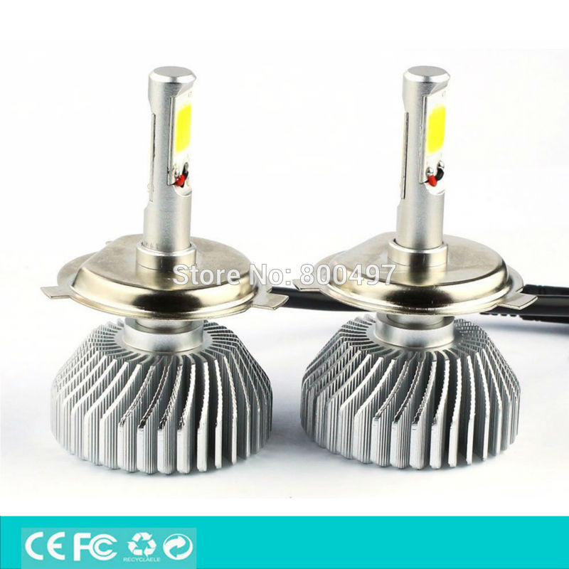 ФОТО Newest Design H4 9003 HB2 P43t  High Low Beam LED COB High Power 40W 2700lm 5000k Super White Headlight Fog Light Kit
