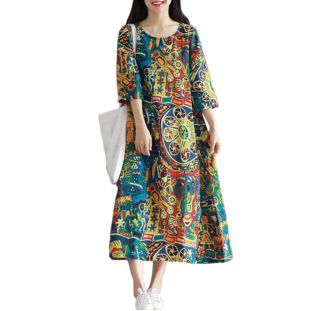 Yfashion Retro Floral Print Loose Dress Women Harajuku Cotton Boho Casual Linen Dresses Summer Spring Dress Female Vestidos in Dresses from Women 39 s Clothing