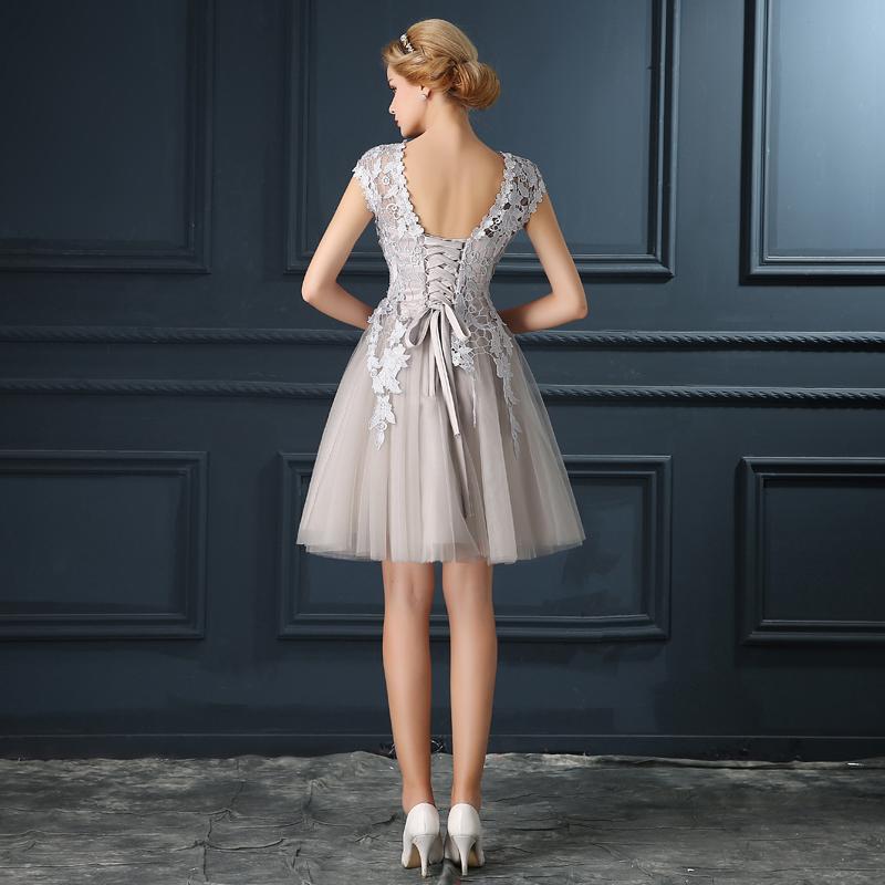 Robe De Soiree 2017 gery u collar Lace Up short evening dress abendkleider vestito da sera prom dresses party dresses 4 colors 5