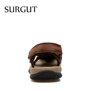 Image 3 - SURGUT Brand Men Breathable Casual Shoes Genuine Leather Sandals Male Rubber Beach Shoes Summer New Sandals Slippers Size 38 45