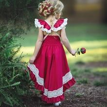 Toddler Kids Baby Girls Summer Red Dresses Backless Sleevele