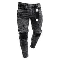 Men's Ripped Biker Jeans Skinny Motorcycle Destroyed Distressed Pencil Jeans Runway Slim Racer Biker Jeans Fashion Hiphop jean
