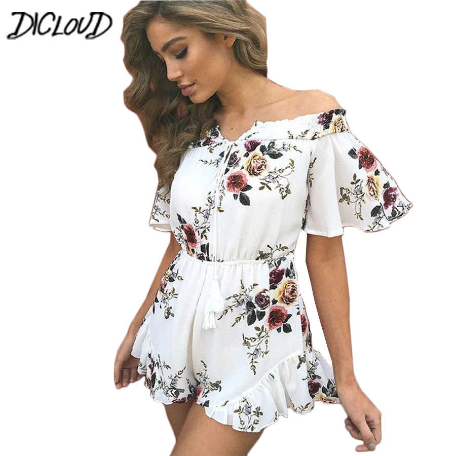 62c6ad59694 Flowers Off Shoulder Summer Jumpsuit Women Fashion Print Chiffon Sexy  Playsuit Female Loose Lace Bohemia Beach
