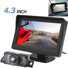 Free Shipping 4.3 Inch HD Digital Panel Car Rearview LCD Monitor + 7 IR Lights Camera